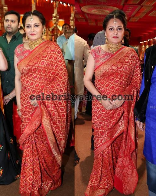 Jayapradha Red Benaras Saree