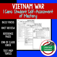 American History I Cans, Student Self-Assessment of Mastery, Vietnam War