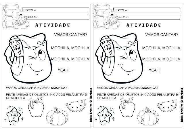 Atividade Letra M-Mochila Dora Aventureira para Colorir