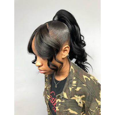 Add a pop of color to your hair with a coiffure like this one 29+ Ways to Create Black Sleek Ponytail Hairstyles Ideas To Copy In 2020