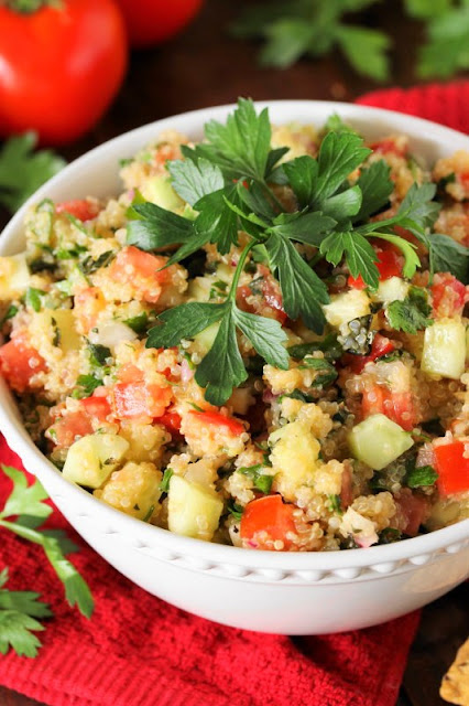Quinoa Tabouli {or Tabbouleh} ~ A gluten-free version of tabouli, loaded with fabulous flavor from fresh vegetables, parsley, & mint. Great as a side dish or with crackers for a snack.