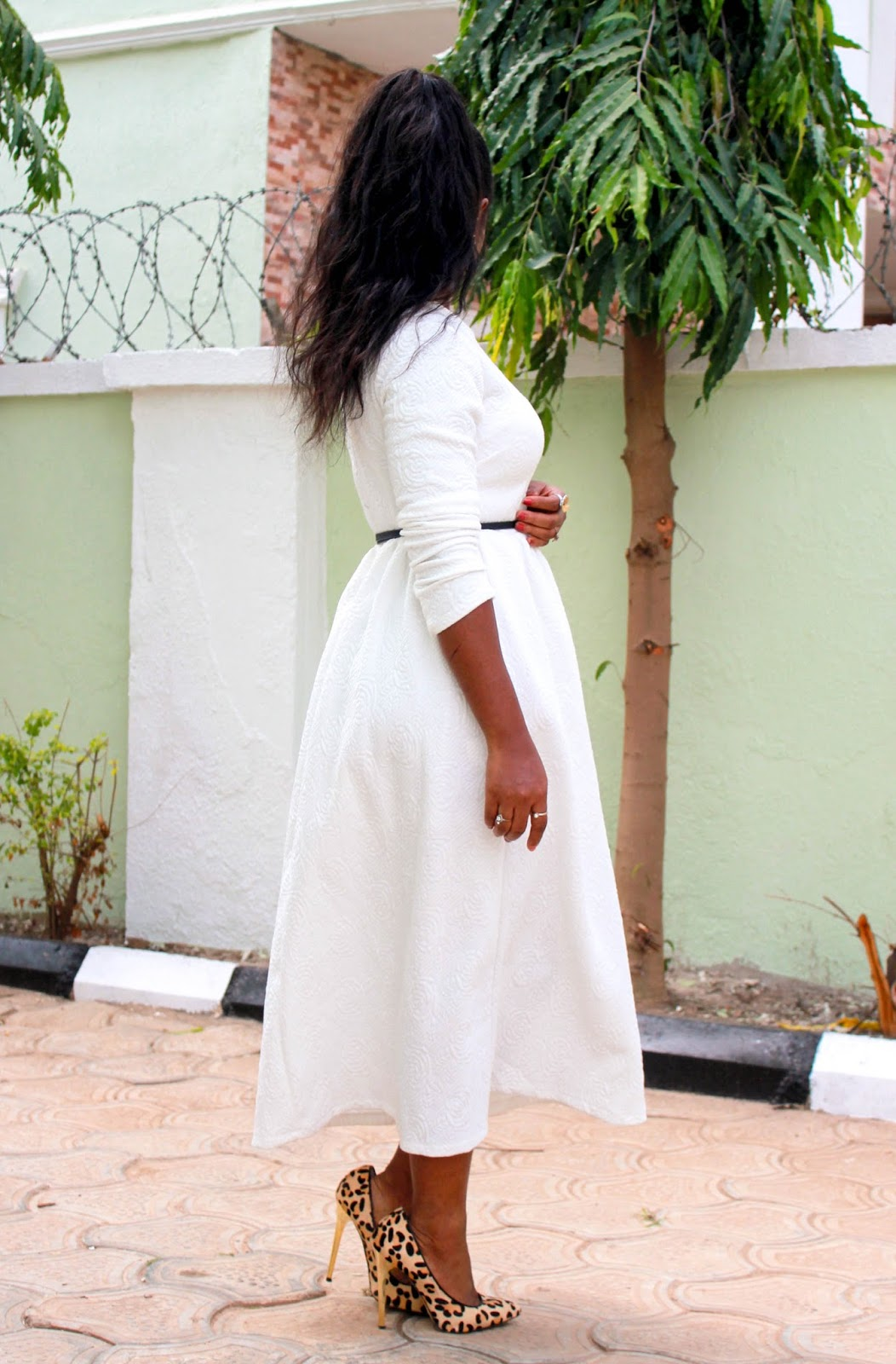 WHITE ELEGANCE - White Embossed Flared Dress