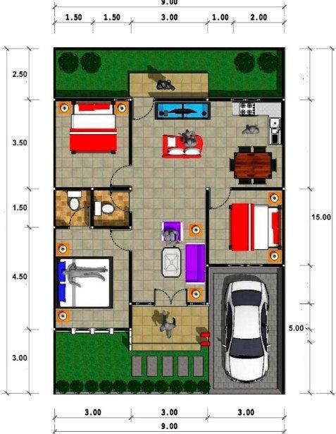 Denah Rumah 1 Lantai Sederhana Type 70