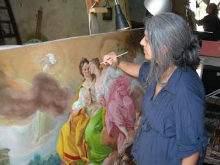 pittrice Cristina Gemellaro copia dipinto antico Pace e Giustizia