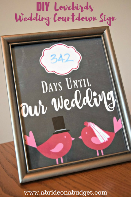 DIY Lovebirds Wedding Countdown Sign
