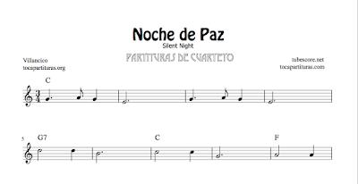 Noche de Paz Partituras de Cuarteto de Cuerda (Violines, Viola, Violonchelo) y Partitura de Cuarteto de Viento (Flautas y Clarinete en Si bemol)