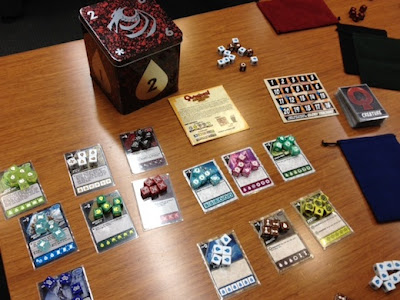 Quarriors dice game in play