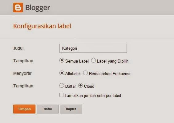 Contoh Aturan pada Widget Labels