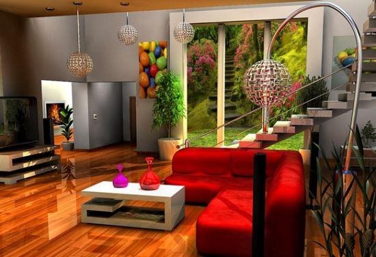 Desain Interior Ruang Keluarga warna merah