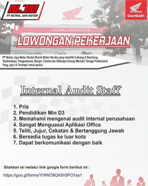 Lowongan PT. Netral Jaya Motor (NJM)