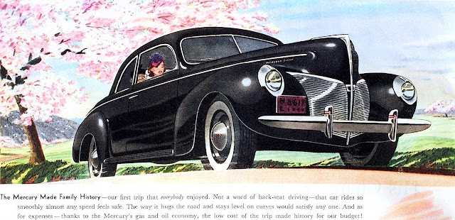 a 1940 Mercury advertising illustration of a black car