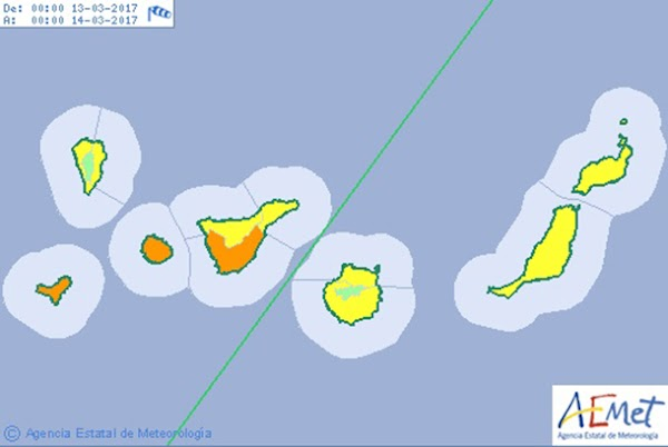 El Hierro, La Gomera y Tenerife en aviso naranja por viento, lunes 13 marzo