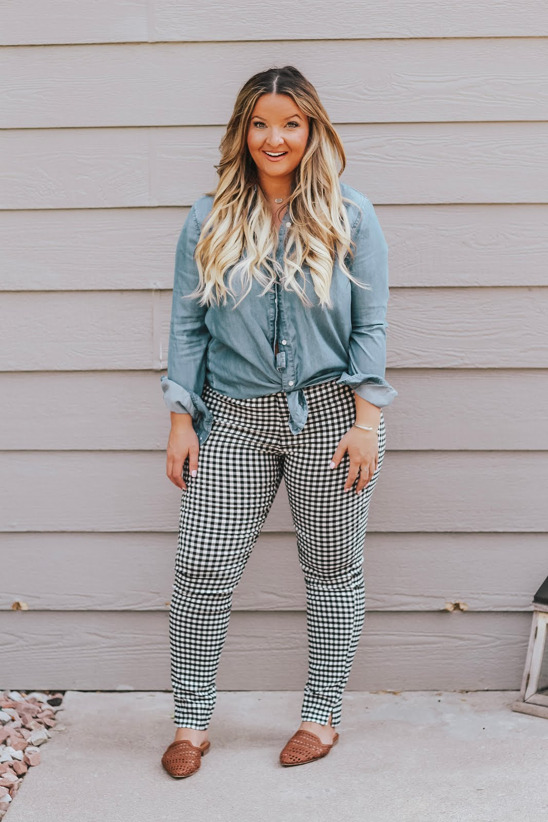 Gingham Pants featured by top Denver fashion blog, Delayna Denaye