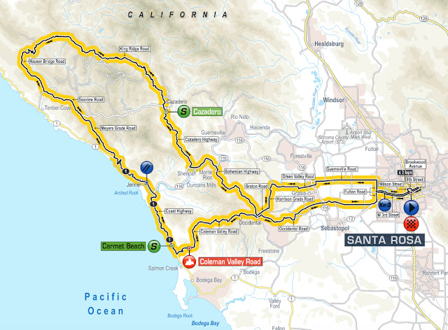 Stage 7 map of Tour of California 2016