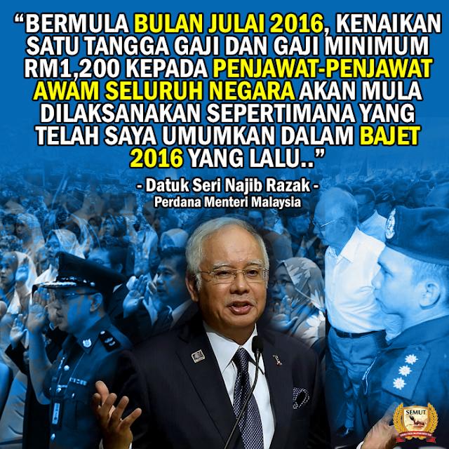 PM Umum Kenaikkan Tangga Gaji Penjawat Awam! #Bajet2016