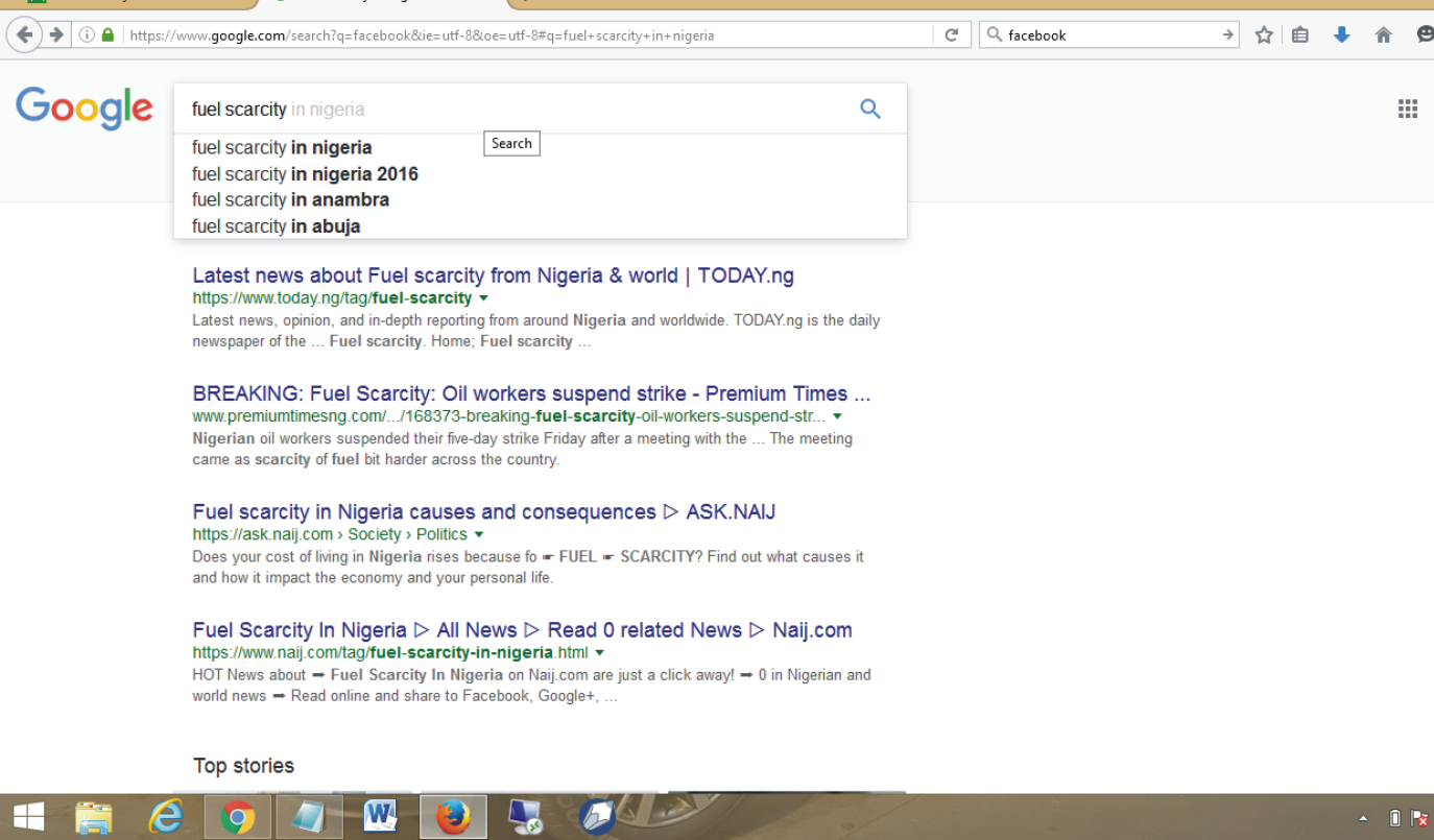 "Hilarious: Checkout What Google Suggested To Me When I Typed ""Fuel Scarcity In"" Only"
