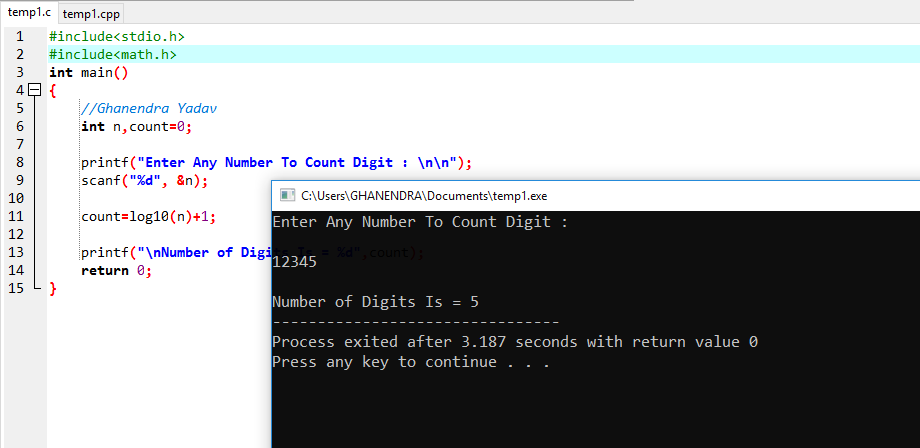 C Program to Count Number of Digits of A Number (Integer)
