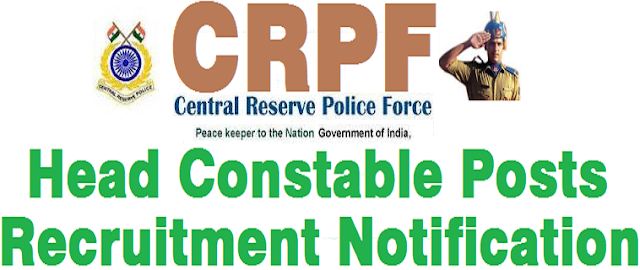 CRPF,Head Constable Posts,Recruitment notification