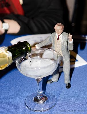 John A. Macdonald figurine drinks champagne - photo by Shelley Banks