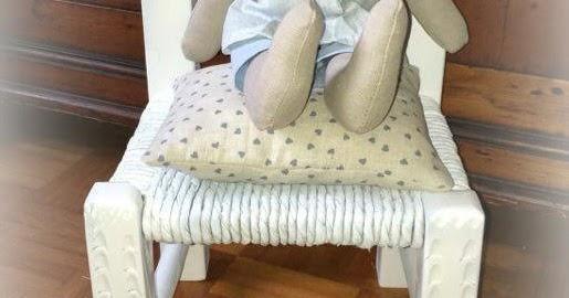 """♥ Restyling di una vecchia seggiolina con coniglietto """"Tilda"""" ♥"""