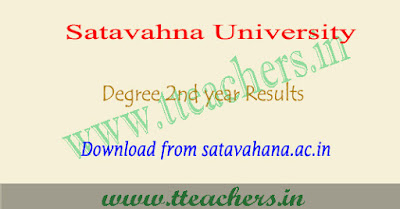 Satavahana university degree 3rd sem results 2018, su 2nd year result