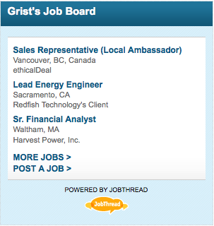 Grist job board with logo at bottom that looks like a flattened orange platypus