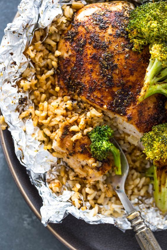Foil Pack Chicken Rice and Broccoli Recipe | Grace Family