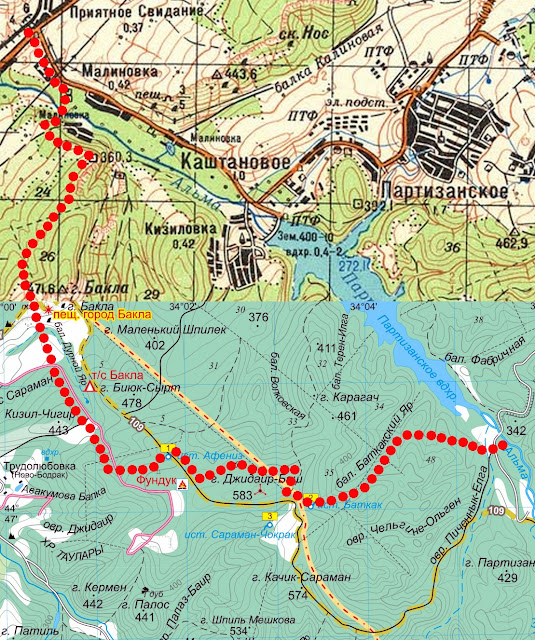 Карта маршрута Приятное Свидание – Бакла – Альма