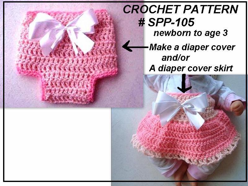 Hectanooga Patterns Crochet Diaper Cover Skirt Set For Baby Girls