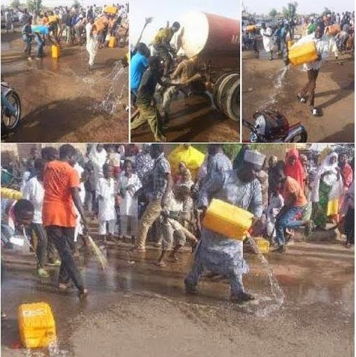 People in Buhari's village wash their roads after GEJ pays a visit