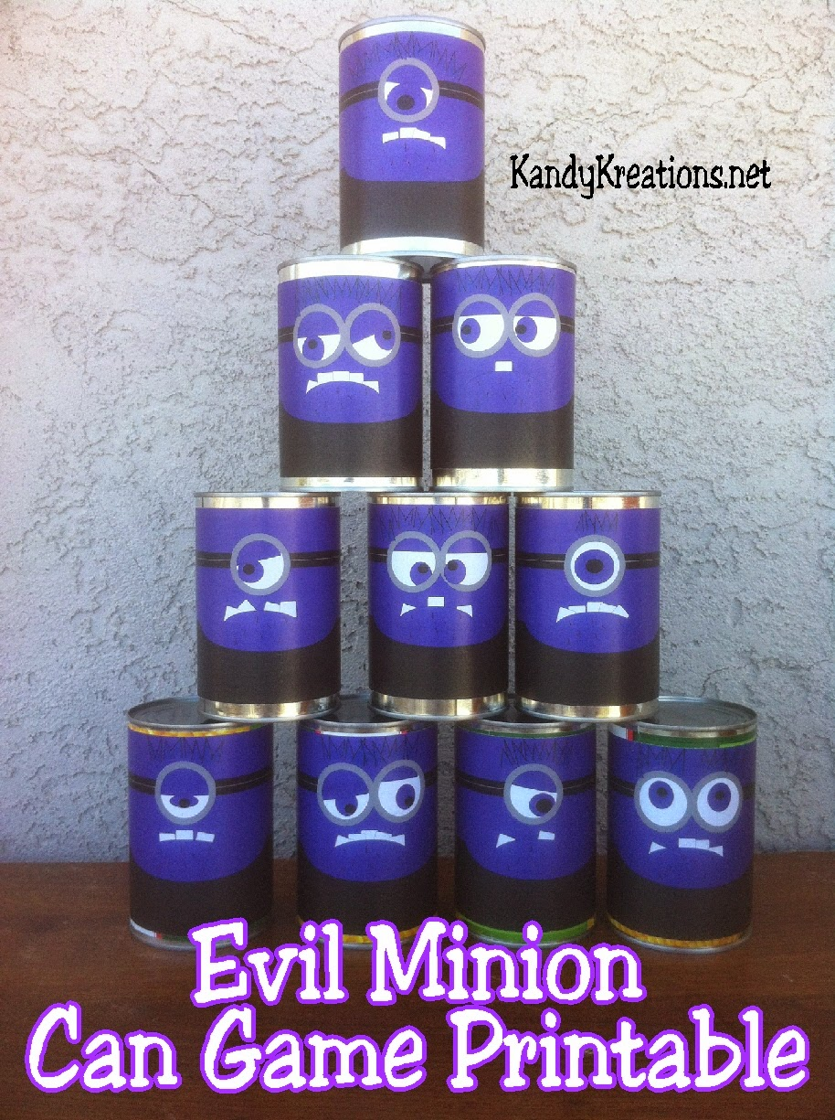 Save the Evil Minions at your Minion party with this can game printable.  Print out each minion and knock them down with your own jelly ball to play this can game and have fun at your Minion party.