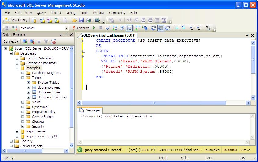 examples: MSSQL Stored Procedure Insert SQL Tutorial