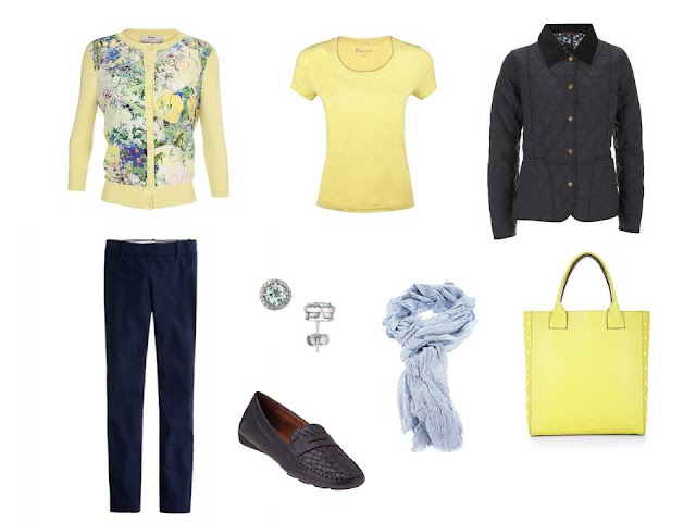 a travel outfit based on a yellow floral cardigan, with a yellow tee and tote, and light blue accessories