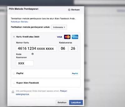 cara bayar iklan di facebook