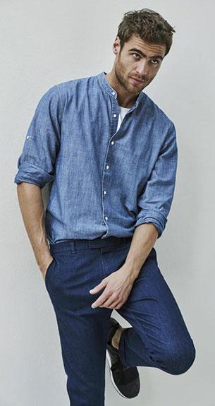 Stradivarius pantalones camisa denim hombre