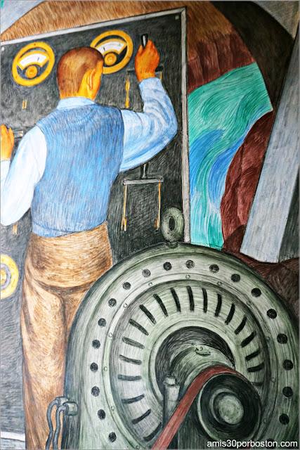 "Mural ""Machine Force"" de Ray Boynton en la Torre Coit de San Francisco"