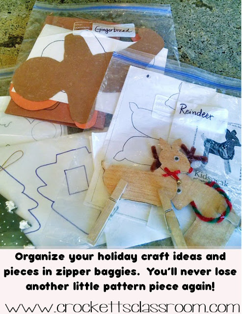 Zipper baggies are an excellent way to keep all your holiday crafts and projects organized.  Store your patterns and directions in gallon baggies so you'll have all the pieces when you pull out that file next year!