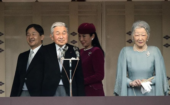 Japanese Emperor Akihito and Empress Michiko, Crown Prince Naruhito, Crown Princess Masako, Prince Akishino, Prince Kiko, Princess Mako and Princess Kako from the balcony of the Imperial Palace