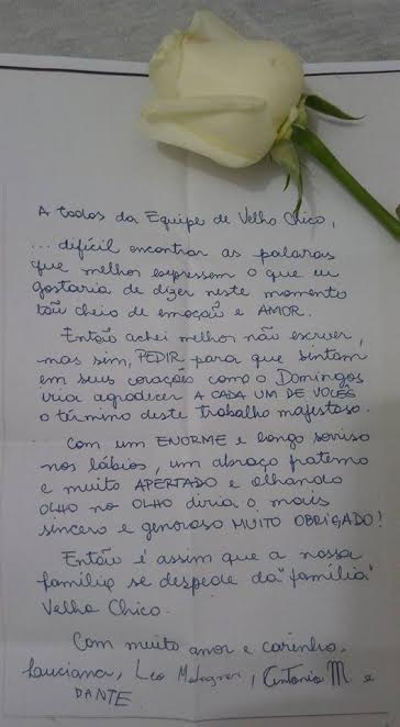 #VelhoChico: Leia a carta da família de Montagner para a equipe da novela