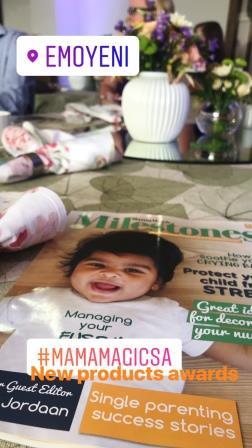 Cover of Milestones Magazine with text MamaMagic New Products Awards at Emoyeni