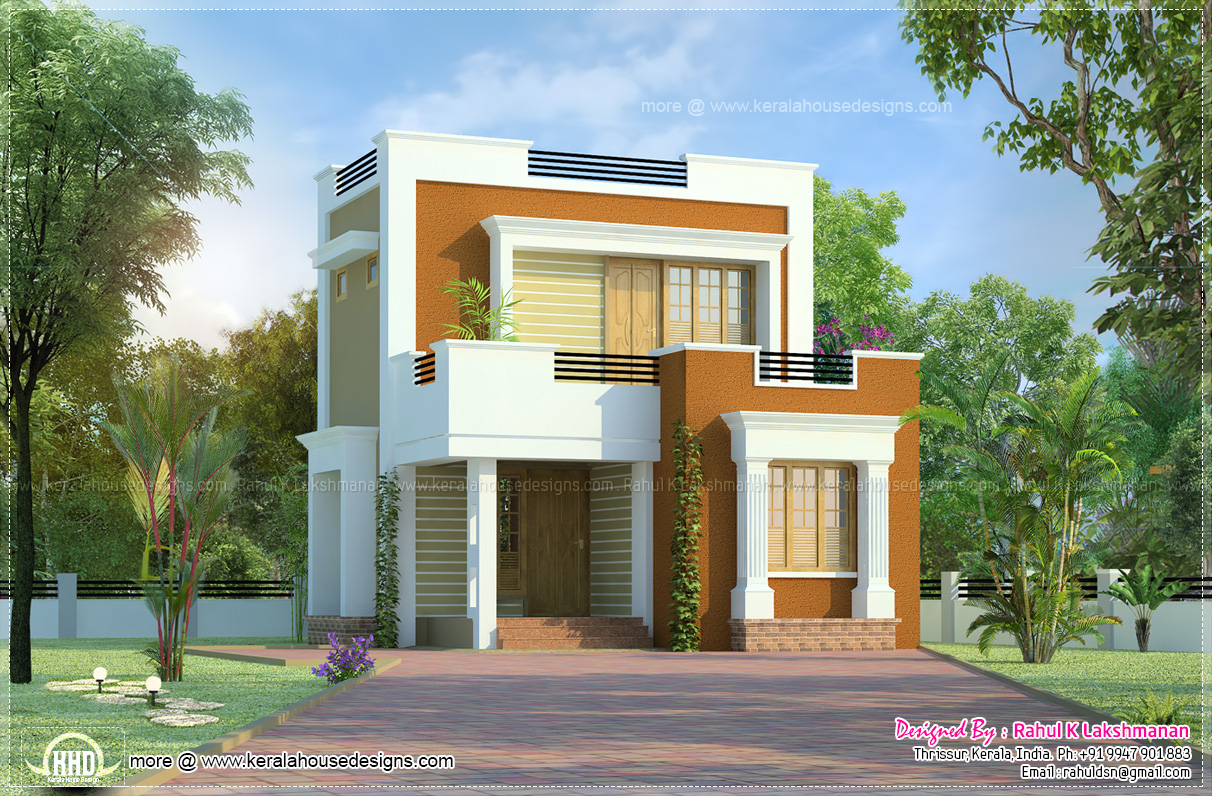 Cute small house design in 1011 square feet kerala home for Square house design