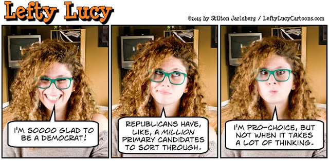 lefty lucy, liberal, progressive, political, humor, cartoon, stilton jarlsberg, conservative, clueless, young, red hair, green glasses, cute, democrat, pro-choice, primary, candidates