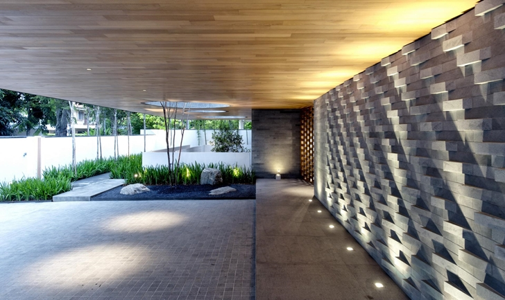 Facade lighting of The Wall House by FARM Architects