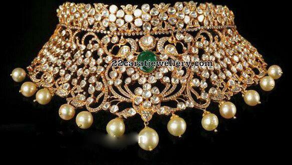 Pachi Work Bridal Choker and Jhumkas