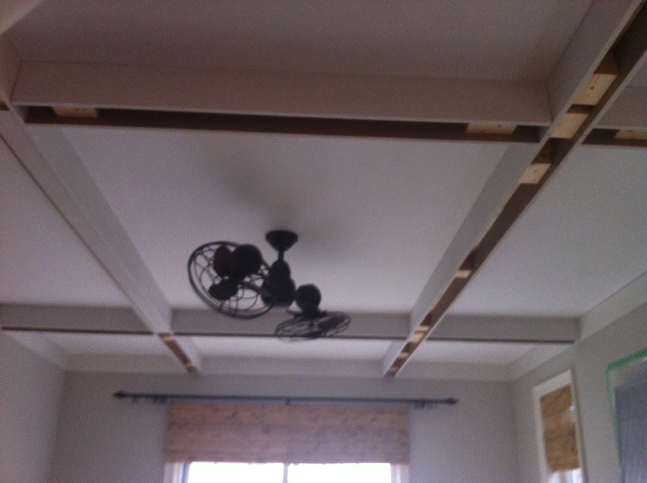 Plastic Door Strips >> White Wood : My DIY coffered ceiling