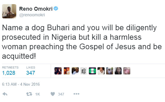 How Reno Omokri reacted to the release of Bridget Aghaneme's killers
