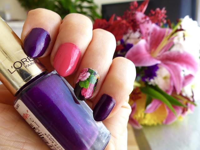 Summer nails - Dziki fiolet, Róż i Kwiecisty wzorek