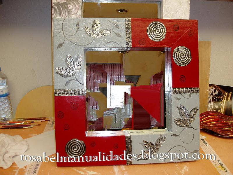 Rosabel manualidades marcos para espejos for Marcos decorados para espejos