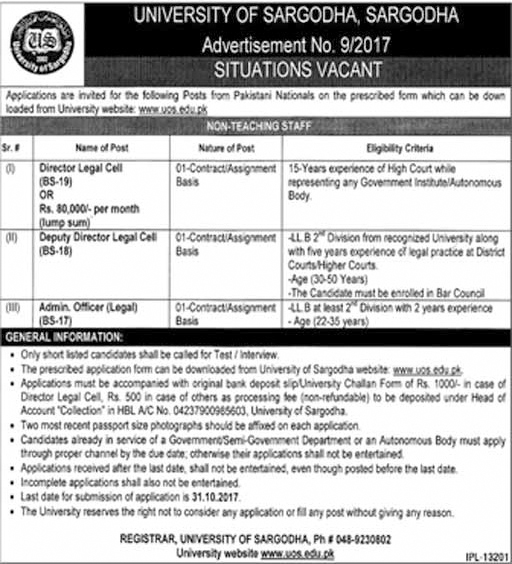 Jobs In University Of Sargodha Oct 2017