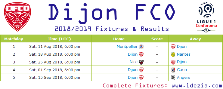 Download Full Fixtures PNG JPG Dijon 2018-2019